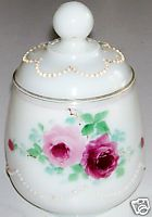 Vintage Milk Glass Dresser Or Vanity Bowl With Lid & Rose